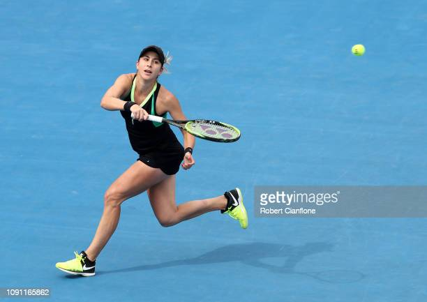 Belinda Bencic of Switzerland plays a shot during her singles match against Mihaela Buzarnescu of Romania during day four of the 2019 Hobart...