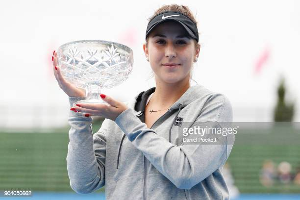 Belinda Bencic of Switzerland poses for a photo after defeating Andrea Petkovic of Germany in the WOmenb's Singles Final during day four of the 2018...