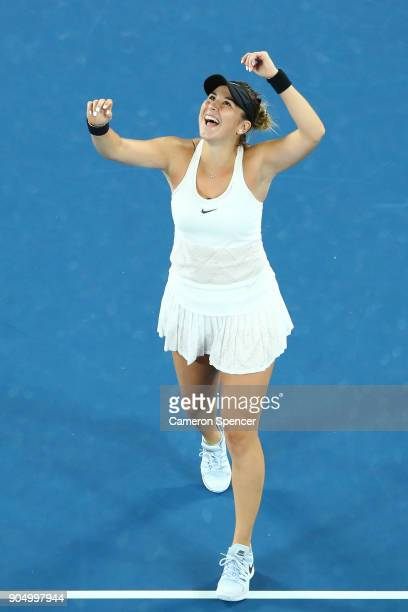 Belinda Bencic of Switzerland reacts after winning her first round match against Venus Williams of the United States on day one of the 2018...