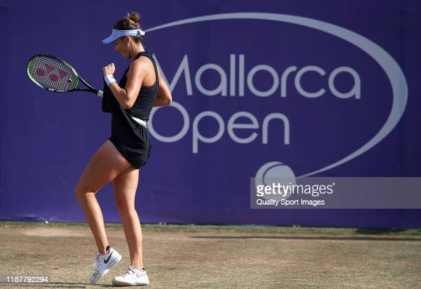 Belinda Bencic of Switzerland reacts in her ladies singles final match against Sofia Kenin of The United States during day seven of the 2019 WTA...