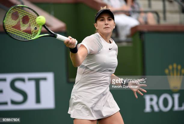 Belinda Bencic of Switzerland return against Timea Babos of Hungary during Day 3 of the BNP Paribas Open on March 7 2018 in Indian Wells California