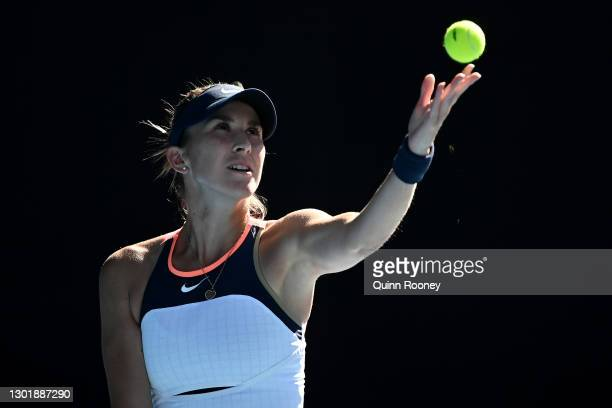 Belinda Bencic of Switzerland serves in her Women's Singles third round match against Elise Mertens of Belgium during day six of the 2021 Australian...