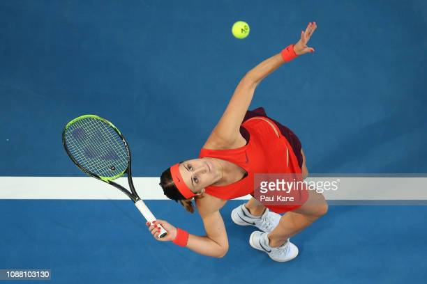 Belinda Bencic of Switzerland serves to Katie Boulter of Great Britain during day two of the 2019 Hopman Cup at RAC Arena on December 30 2018 in...
