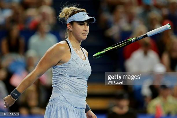 Belinda Bencic of Switzerland throws her racquet in frustration in the womens singles match against Coco Vandeweghe of the United States on day six...