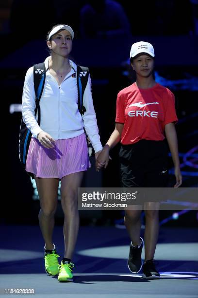 Belinda Bencic of Switzerland walks onto the court for her Women's Singles match against Kiki Bertens of the Netherlands on Day Five of the 2019...