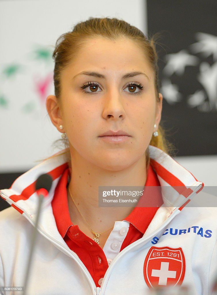 Belinda Bencic of team Switzerland attends a press conference prior to the Fed Cup match against Germany at Messe Leipzig on February 3, 2016 in Leipzig, Germany.