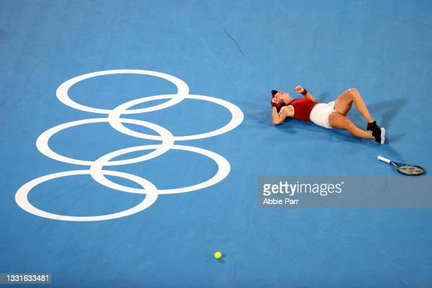 Belinda Bencic of Team Switzerland celebrates after defeating Marketa Vondrousova of Team Czech Republic to win the Women's Singles Gold Medal Match...