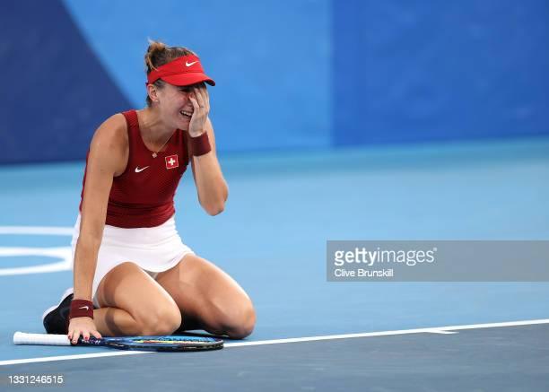 Belinda Bencic of Team Switzerland celebrates after match point during her Women's Singles Semifinal match against Elena Rybakina of Team Kazakhstan...