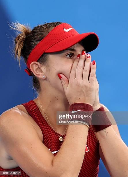 Belinda Bencic of Team Switzerland celebrates victory after her Women's Singles Semifinal match against Elena Rybakina of Team Kazakhstan on day six...