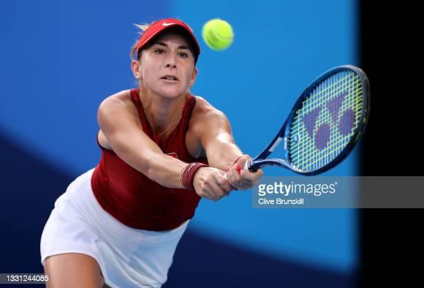 Belinda Bencic of Team Switzerland plays a backhand during her Women's Singles Semifinal match against Elena Rybakina of Team Kazakhstan on day six...