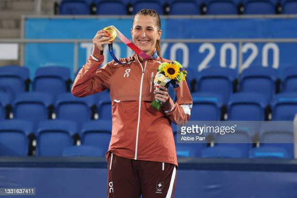 Belinda Bencic of Team Switzerland poses with her gold medal after defeating Marketa Vondrousova of Team Czech Republic win the Women's Singles Gold...
