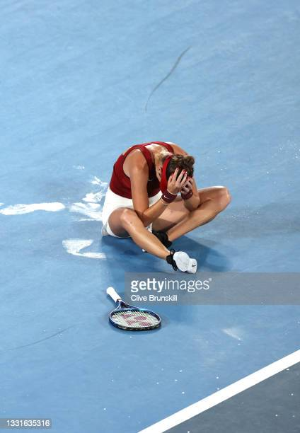 Belinda Bencic of Team Switzerland reacts after defeating Marketa Vondrousova of Team Czech Republic to win the gold medal after the Women's Singles...