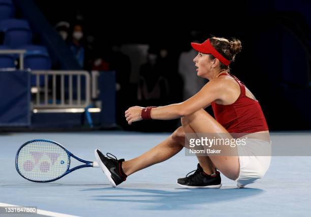 Belinda Bencic of Team Switzerland reacts after her match point over Marketa Vondrousova of Team Czech Republic to win the gold medal in the Women's...