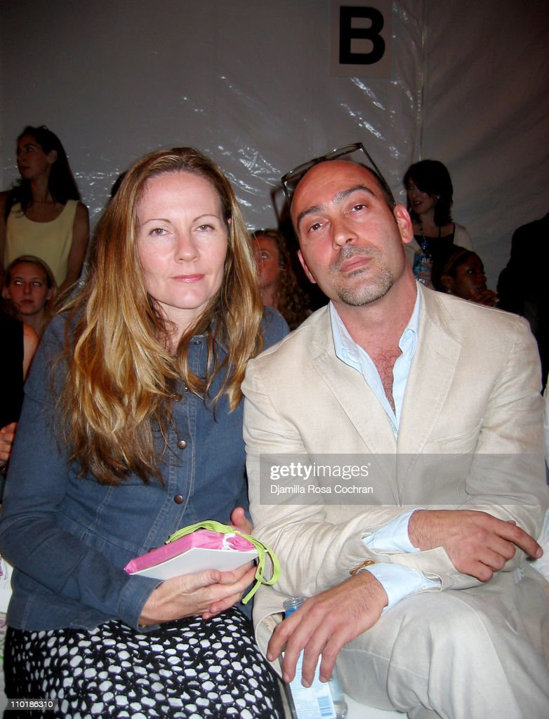Belinda Cape and John Ventimiglia during Mercedes-Benz Fashion Week Spring 2004 - Nanette Lepore - Front Row and Backstage at Bryant Park in New York City, New York, United States.