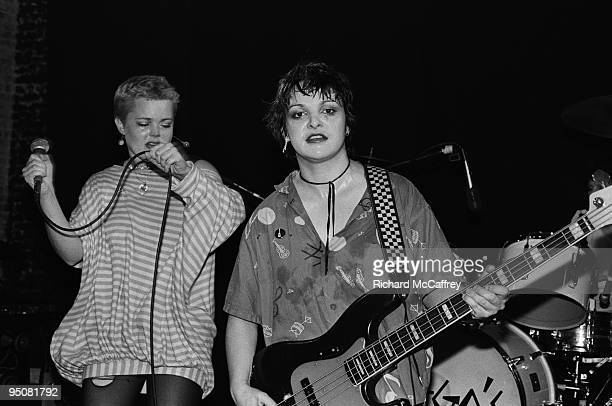R Belinda Carlise and Margot Olaverra of The Go Go's performs live at The Mabuhay Gardens Nightclub in 1978 in San Francisco California
