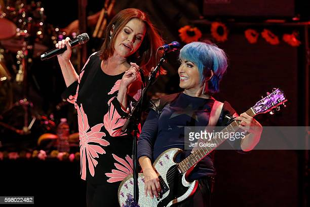 Belinda Carlisle and Jane Wiedlin of The GoGo's perform on the final night of their 'Farewell Tour' at The Greek Theatre on August 30 2016 in Los...