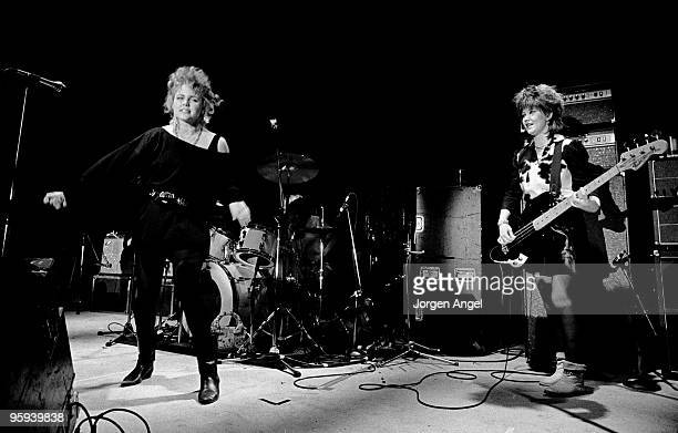 Belinda Carlisle and Kathy Valentine of The GoGo's perform on stage at Brondyhallen supporting The Police on January 5th 1982 in Copenhagen Denmark