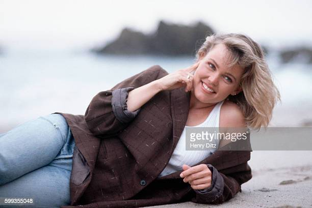 Belinda Carlisle films a MTV spot for RAD Rock Against Drugs at Leo Carillo Beach in Malibu California