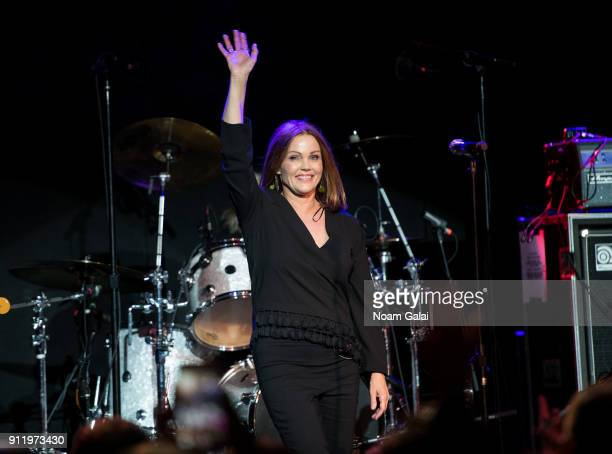 Belinda Carlisle of The GoGo's performs onstage during a celebration of broadway's new musical 'Head Over Heels' at Bowery Ballroom on January 29...