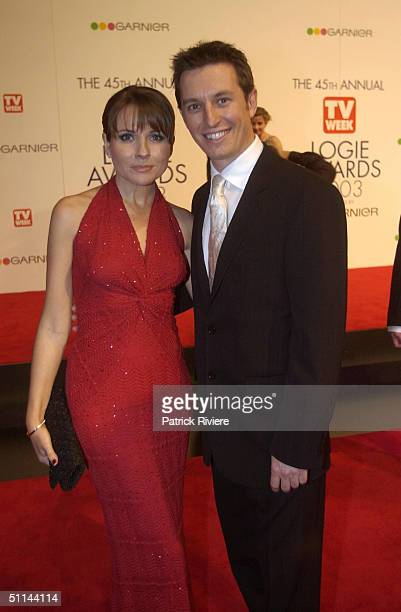 Belinda Emmett and partner Rove McManus arriving on the red carpet for the 45th Annual TV Week Logie Awards 2003 held at the Crown Casino Melbourne...