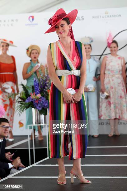 Belinda Green wins the Millinery Award in Fashion in the Fields during the Boxing Day Races at Ellerslie Racecourse on December 26, 2018 in Auckland,...