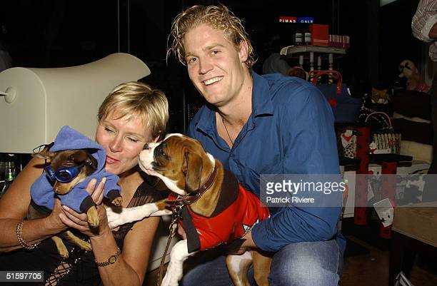 30 OCT 2003 Belinda Green with her dog Ralph Chris Brown new vet on Harry's Practice TV show with Argie at the opening of Simon Lewis 's special shop...