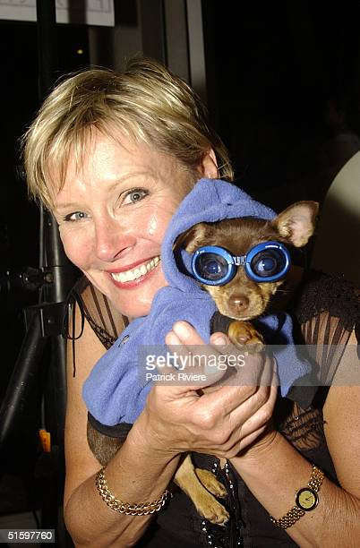 30 OCT 2003 Belinda Green with Taco the chihuhua at the opening of Simon Lewis 's special shop for dogs PET IN THE CITY Neutral Bay Sydney