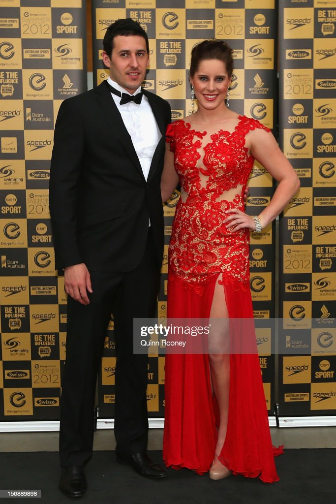 Belinda Hocking and Max Ireland arrive at the 2012 Swimmer of the Year Awards at the Melbourne Museum on November 24, 2012 in Melbourne, Australia.