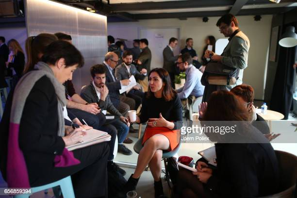 Belinda Palmer CEO of The Empathy Business talks to the media after Spotlight Live the Konica Minolta Workplace Hub Launch at Umspannwerk...