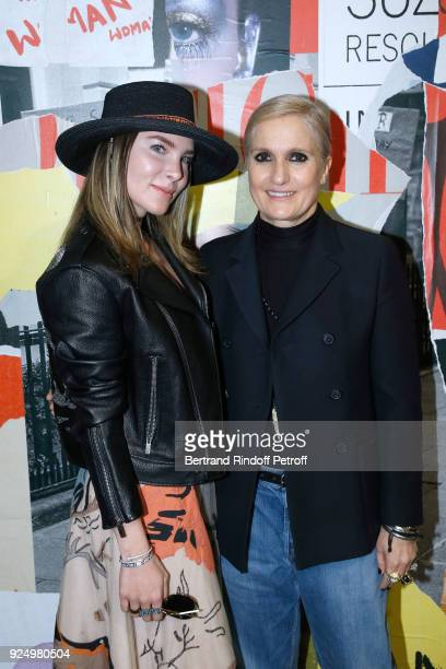 Belinda Peregrin and Stylist Maria Grazia Chiuri pose after the Christian Dior show as part of the Paris Fashion Week Womenswear Fall/Winter...