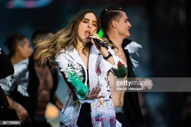 Belinda performs during the final event of the 2018 Presidential Campaign at Azteca Stadium on June 27 2018 in Mexico City Mexico