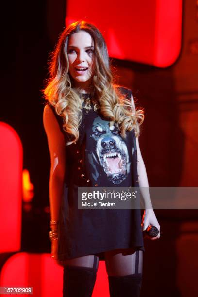 Belinda performs on stage during the 59th Ondas Awards 2012 at the Gran Teatre del Liceu on November 29 2012 in Barcelona Spain