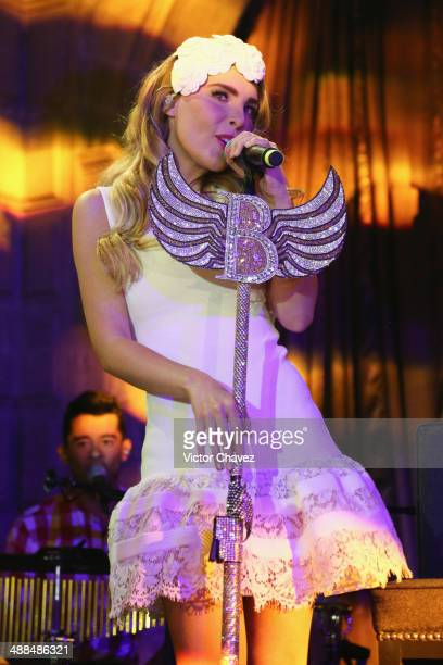 Belinda performs on stage during the Magnum 25th Anniversary at Ex Convento De San Hipolito on April 24 2014 in Mexico City Mexico
