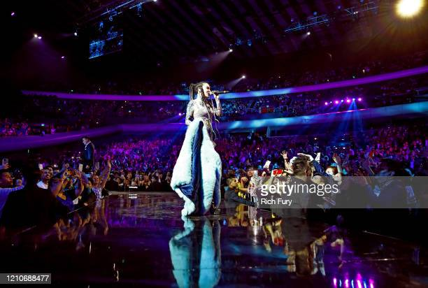 Belinda performs onstage during the 2020 Spotify Awards at the Auditorio Nacional on March 05, 2020 in Mexico City, Mexico.