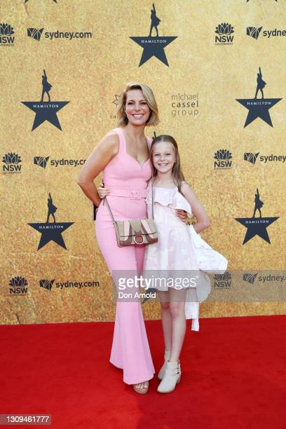 Belinda Russell and her daughter Tallulah attend the Australian premiere of Hamilton at Lyric Theatre, Star City on March 27, 2021 in Sydney,...