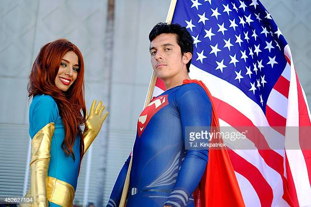 Belinda Sainz left and Bersain Gutierrez both of San Diego CA portray the characters Phoenix and Superman during the 45th annual San Diego ComicCon...
