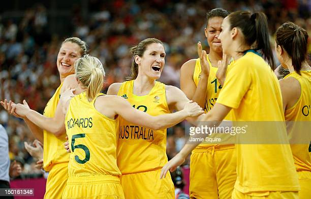 Belinda Snell of Australia celebrates with her teammates against Russia during the Women's Basketball Bronze Medal game on Day 15 of the London 2012...