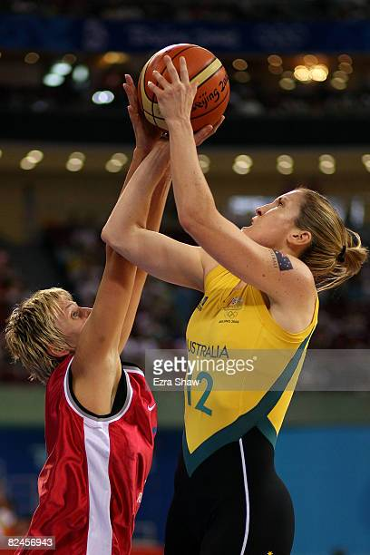 Belinda Snell of Australia attempts a shot against Hana Machova of Czech Republic during their quaterfinal women's basketball match on Day 11 of the...