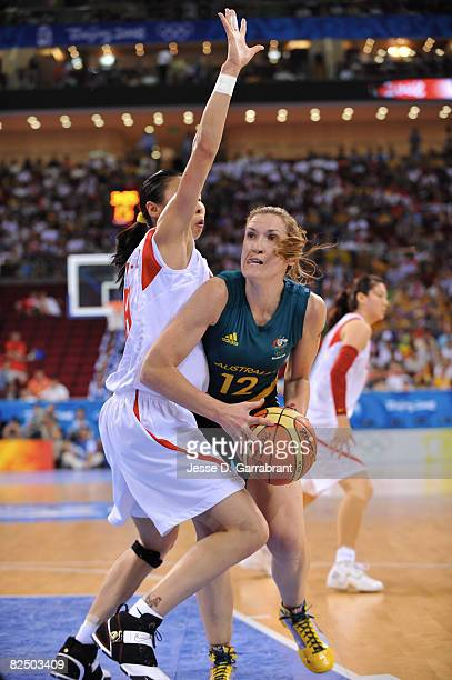 Belinda Snell of Australia looks to shoot against China during the Women's Semifinals basketball game at the Wukesong Indoor Stadium during Day 13 of...