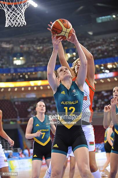 Belinda Snell of Australia rebounds against Belarus during day one of basketball at the 2008 Beijing Summer Olympics on August 9, 2008 at the...