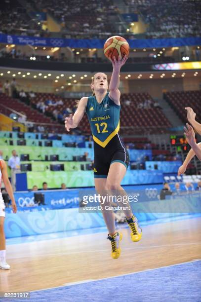 Belinda Snell of Australia shoots against Belarus during day one of basketball at the 2008 Beijing Summer Olympics on August 9, 2008 at the Wukesong...