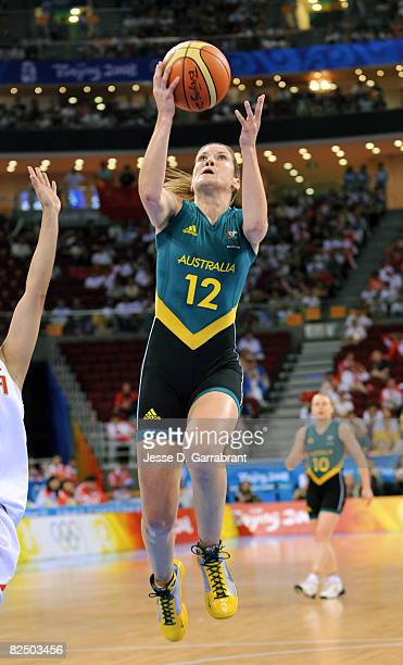 Belinda Snell of Australia shoots against China during the Women's Semifinals basketball game at the Wukesong Indoor Stadium during Day 13 of the...