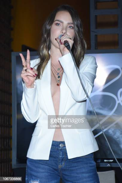 Belinda speaks during the presentation of the 'Popstar by Belinda' new collection at Club de Banqueros on November 13 2018 in Mexico City Mexico