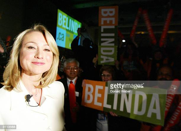Belinda Stronach a candidate for leader of the Conservative Party of Canada makes her way through supporters after speaking at the Metro Toronto...