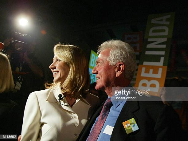 Belinda Stronach a candidate for leader of the Conservative Party of Canada and her father Frank Stronach acknowledge the crowd at the Metro Toronto...