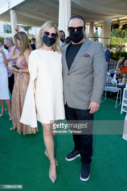 Belinda Stronach, Chairman and President, 1/ST and Gino LoPinto attend the 2021 Pegasus World Cup Championship Invitational Series at Gulfstream Park...