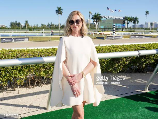 Belinda Stronach, Chairman and President, 1/ST speaks during the 2021 Pegasus World Cup Championship Invitational Series at Gulfstream Park on...