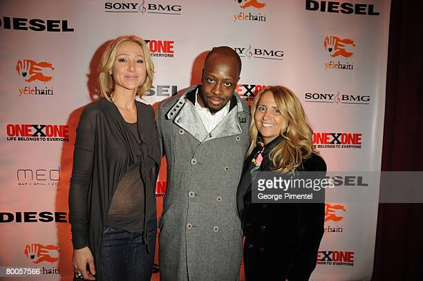 Belinda Stronach Singer Wyclef Jean and CEO of Deisel Canada Joey Adler attend the ONEXONE/Diesel Reception for initiative Yele Haiti at MED Bar and...