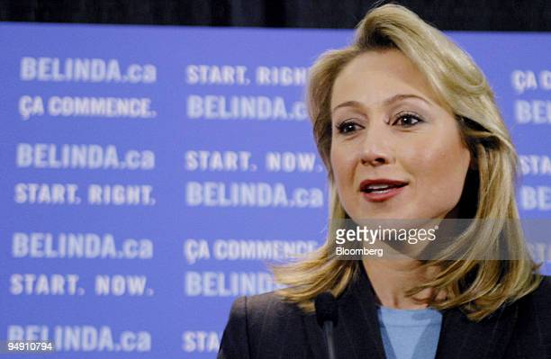 Belinda Stronach speaks at a news conference in Toronto Canada Tuesday January 20 after resigning from her position as Canada's president and CEO of...