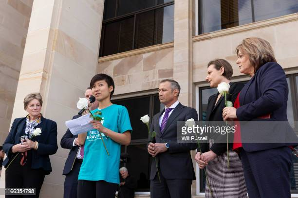 Belinda Teh speaks on the steps of the WA Parliament with Euthanasia advocates on August 06, 2019 in Perth, Australia. Teh met with Premier Mark...